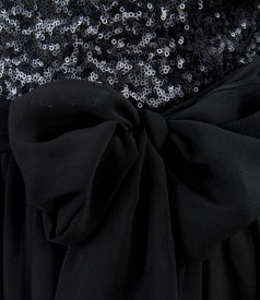 Rochie de seara scurta din voal cu garnitura de paiete