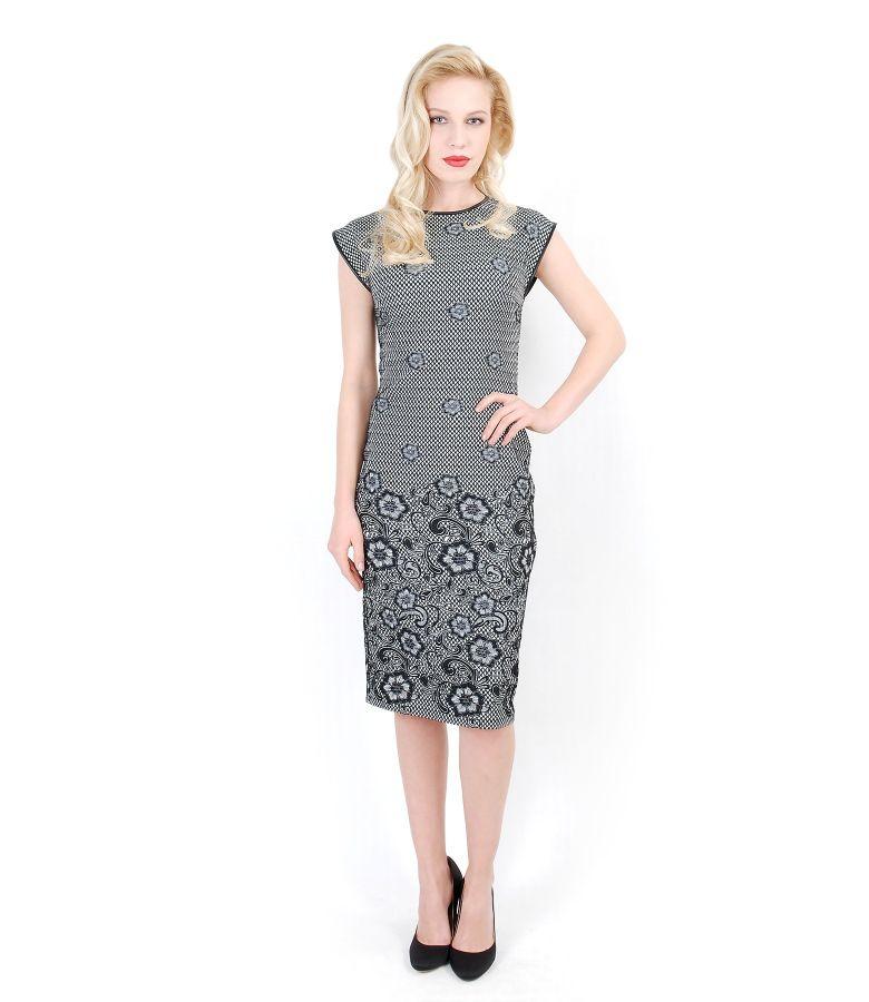 Rochie eleganta din stofa elastica cu motive florale