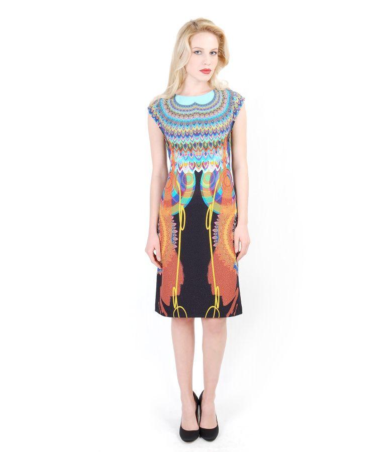 Rochie eleganta din stofa elastica imprimata