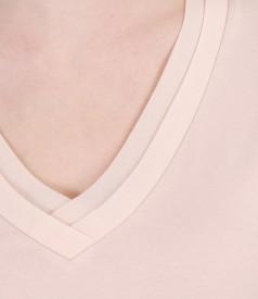 Bluza din jerse elastic cu garnitura si aripioare de voal