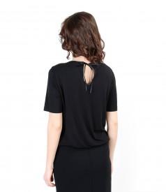 Bluza din jerse elastic cu fata din stofa elastica