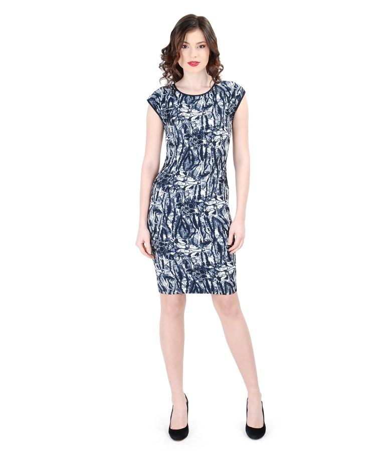 Rochie eleganta din brocart elastic multi-color