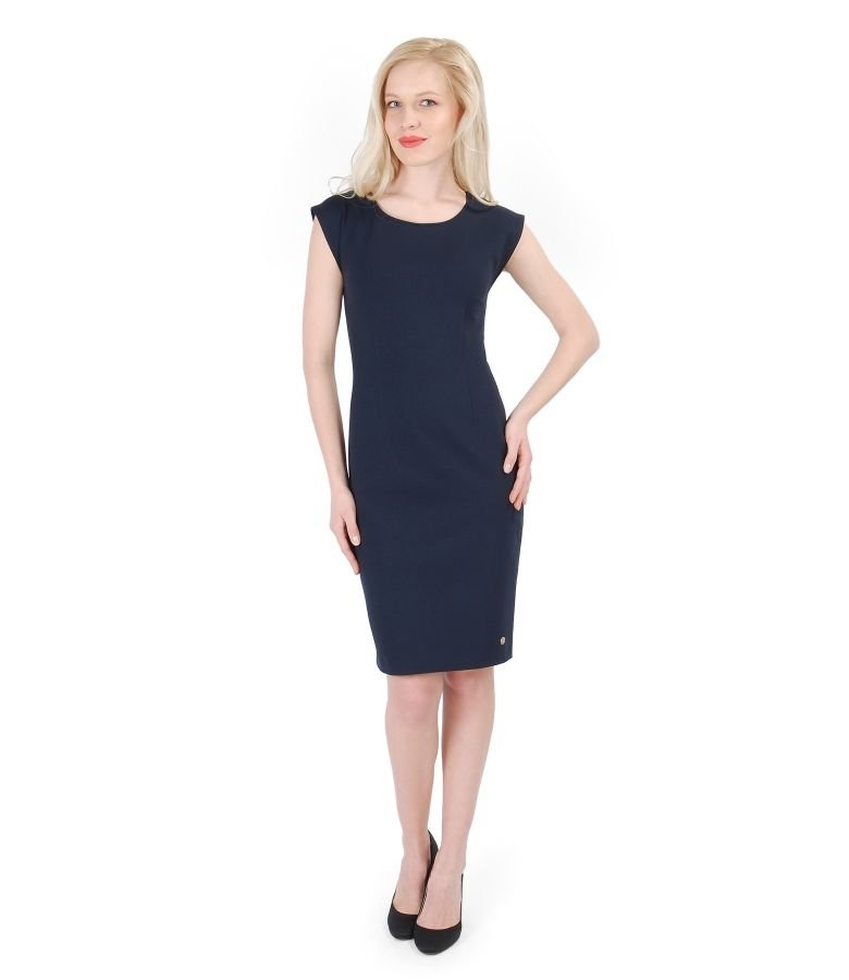 Rochie din jerse elastic gros bleumarin