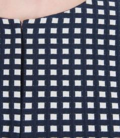 Sacou din bumbac elastic gofrat alb-bleumarin