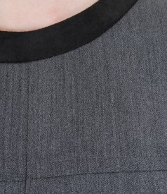 Rochie din stofa elastica cu buzunare si garnitura de catifea