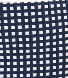 Fusta din bumbac elastic gofrat alb-bleumarin