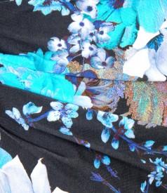 Rochie din jerse elastic imprimat cu pliuri