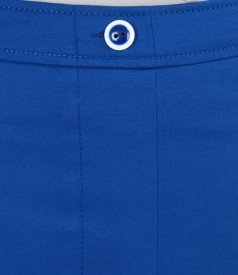 Fusta din bumbac elastic albastru