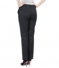 Pantaloni cu buzunare din bumbac elastic