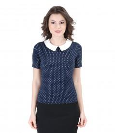 Bluza din jerse elastic imprimat cu guler