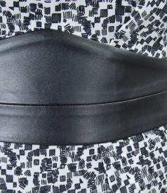 Rochie din voal imprimat cu garnitura de piele