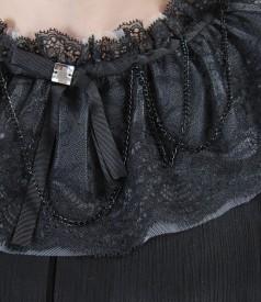 Rochie de seara din matase cu maneci bufante