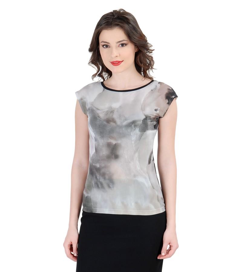 Tricou din jerse imprimat cu umeri cazuti
