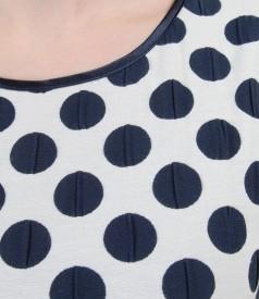 Rochie din bumbac elastic gofrat cu buline