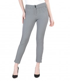 Pantaloni din stofa elastica gofrata
