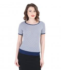 Bluza din jerse elastic cu fata imprimata