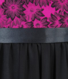 Rochie de seara scurta cu corsaj brocat cu motive florale