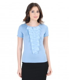 Bluza din jerse elastic cu jabou de voal