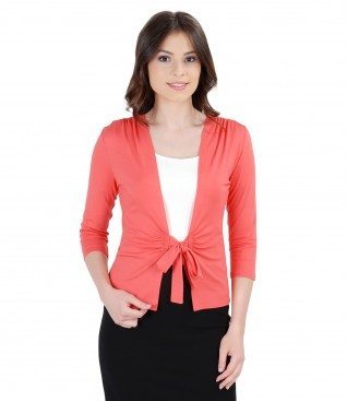 Bluza din jerse rosu corai legata cu cordon