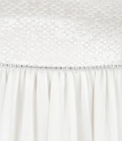 Rochie de seara scurta din voal cu corsaj din bumbac elastic brocat