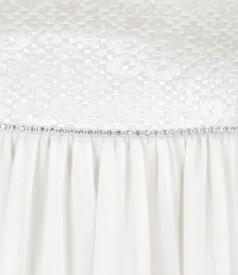 Rochie de seara lunga din voal cu corsaj din bumbac elastic brocat