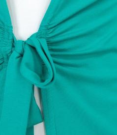 Bluza din jerse verde legata cu cordon