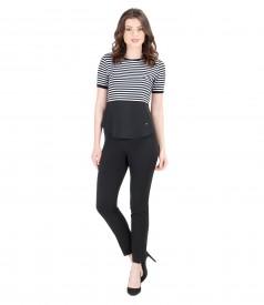 Bluza din jerse elastic alb-negru cu pantaloni