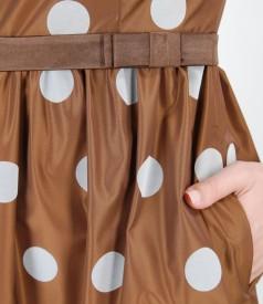 Rochie de seara evazata din tafta cu picouri de catifea