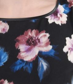 Rochie din voal imprimat cu cordon si falduri
