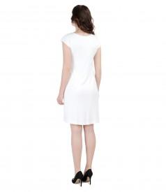 Rochie din jerse elastic cu jabou de voal