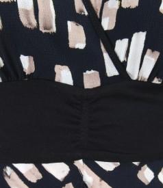 Rochie asimetrica din jerse elastic texturat