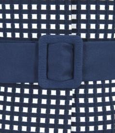 Sacou office din bumbac elastic gofrat alb-bleumarin