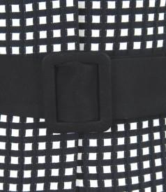 Sacou office din bumbac elastic gofrat alb-negru