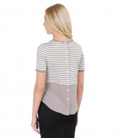 Bluza din jerse elastic alb-bej cu basc