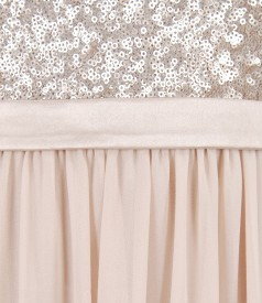 Rochie de seara lunga din voal cu garnitura de paiete