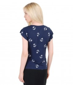Tricou din jerse elastic imprimat cu aripioare