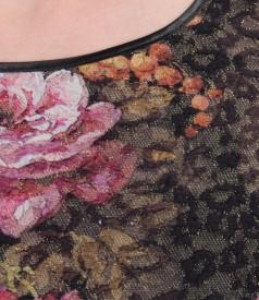 Rochie eleganta din brocart elastic multi-color cu fir metalic