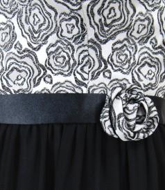 Rochie de seara scurta cu corsaj din brocart cu motive florale