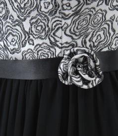 Rochie de seara lunga cu corsaj din brocart cu motive florale