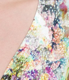 Rochie din jerse imprimat cu nod pe bust