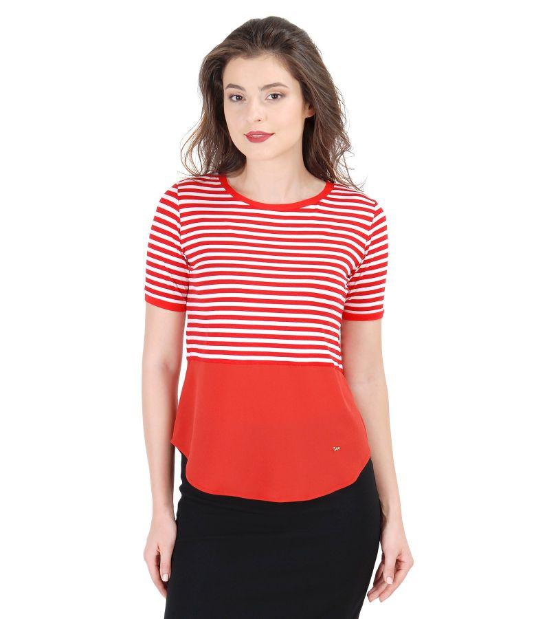 Bluza din jerse elastic alb-rosu cu basc