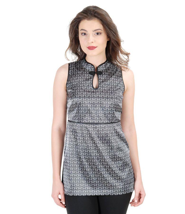 Bluza eleganta din saten elastic imprimat cu brandemburg