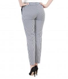 Pantaloni cu buzunare din bumbac elastic imprimat
