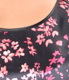 Bluza din jerse elastic cu fata de saten elastic imprimat