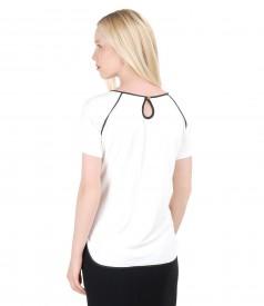 Bluza din jerse elastic cu garnitura