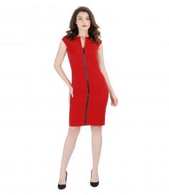 Rochie din stofa elastica cu insertie