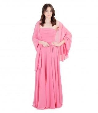 Rochie de seara lunga din voal cu sal