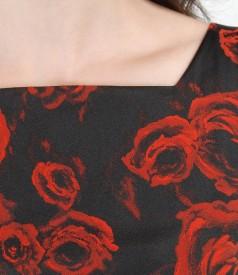 Rochie de seara scurta din saten elastic brocat cu motive florale