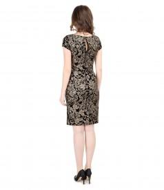 Rochie de seara scurta din catifea elastica imprimata