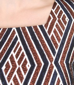 Rochie de seara scurta din brocart elastic cu fir metalic